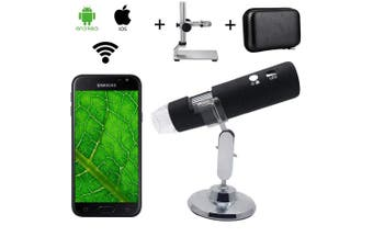 WiFi Digital Wireless Microscope, Bysameyee 1000X Magnification Microscope with Metal Stand Carrying Case/Bag for Student Engineer Adults