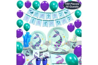 (Blue) - WERNNSAI Mermaid Birthday Party Supplies Set - Magical Party Decorations Kit for Girl Include Cutlery Bag Table Cover Plates Napkins Cups Straws Utensils Birthday Banner Balloons 16 Guests 169 PCS