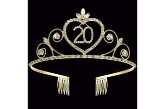 (20th) - Coucoland Crystal Birthday Crown Tiara Rhinestone Princess Birthday Crown Gold Happy 15th/16th/18th/20th/21st/22nd/30th/50th/60th/70th/80th/90th Birthday Crown Tiara (20th)