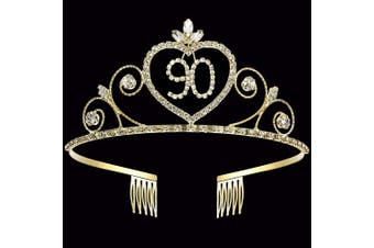 (90th) - Coucoland 90th Crystal Birthday Crown Tiara 90th Rhinestone Princess Birthday Crown Headband Gold 90th Happy Birthday Party Crown Tiara