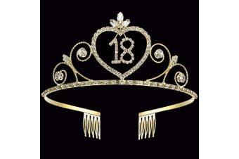 (18th) - Coucoland 18th Crystal Birthday Crown Tiara 18th Rhinestone Princess Birthday Crown Headband Gold 18th Happy Birthday Party Crown Tiara