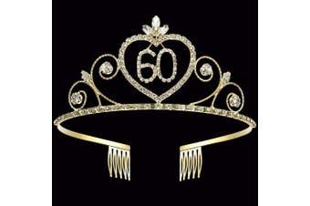 (60th) - Coucoland 60th Crystal Birthday Crown Tiara 60th Rhinestone Princess Birthday Crown Headband Gold 60th Happy Birthday Party Crown Tiara