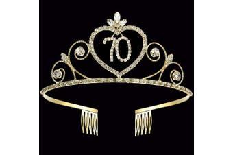 (70th) - Coucoland 70th Crystal Birthday Crown Tiara 70th Rhinestone Princess Birthday Crown Headband Gold 70th Happy Birthday Party Crown Tiara