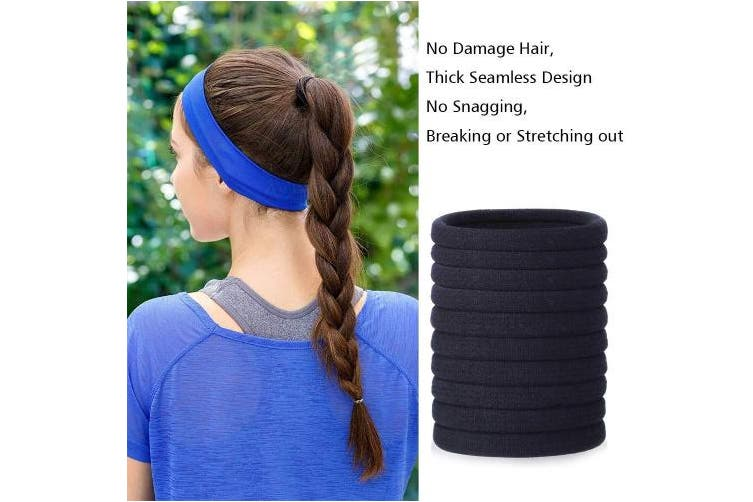 (10pcs - Dia.: 40mm) - 10 Pieces Hair Ties No-Damage Cotton Elastic Hair Bands Small Size Rubber Band Ponytail Holders Black