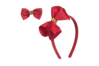 (red) - Gold Sequin Bow headband and Hair Alligator Clips for Girls, Comfortable No Hurt Grosgrain Ribbon Headpiece Hair Hoop for Halloween Christmas Party Cosplay Costume Daily Decor Accessories(Red)