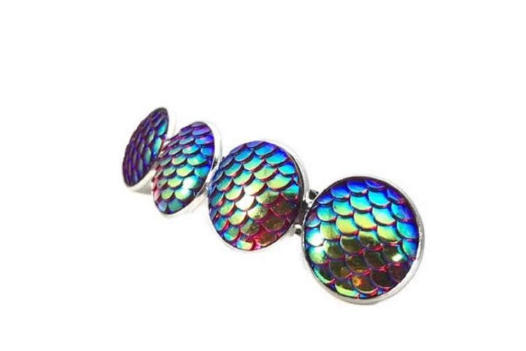 (Red) - Mermaid Scale Hair Clip Barrette (Red)