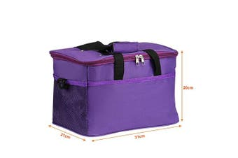 Knitting Bag, LEMESO Yarn Tote Storage Organiser Portable Individual Compartments & High Capacity for Carrying Unfinished Project Crochet Hooks Needles Accessories Purple