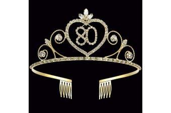 Coucoland 80th Crystal Birthday Crown Tiara 80th Rhinestone Princess Birthday Crown Headband Gold 80th Happy Birthday Party Crown Tiara