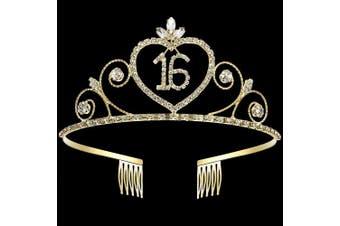 Coucoland 16th Crystal Birthday Crown Tiara 16th Rhinestone Princess Birthday Crown Headband Gold 16th Happy Birthday Party Crown Tiara
