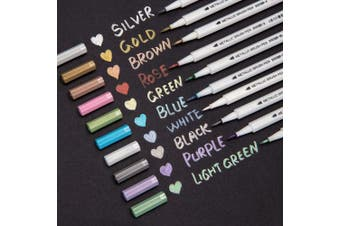 Bianyo Metallic Brush Marker Pens, Set of 10 Colours Metallic Calligraphy Painting Pen for Card Making, Rock Painting, Glass, Metal, Wood,Script Lettering, DIY Photo Album