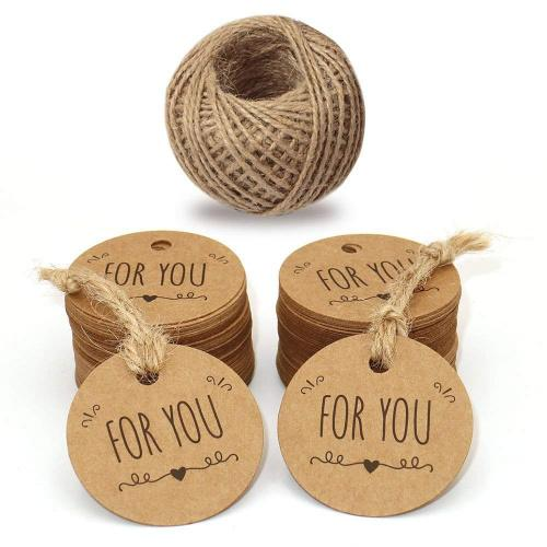 "(For you Brown) - 100PCS 5 CM Brown Kraft Paper Tags, FOR YOU  Round Gift Tags, Kraft Paper Labels with 30 Metres Jute Twine for Crafts Hang Tags, Price Tags, DIY Tags Colour Name: For you Brown Diameter: 5cm. Jute twine: 30m/ 100ft. Material: High quality Kraft paper and natural jute twine. ""FOR YOU"" printed tag with string. Multi-purpose, vintage and simple fashion. Perfect for wedding wishes tags, parties favour tags, gift tags, price tags, hang tags or even product labels. Package: 100PCS Kraft Paper Tags with 30 Metres Jute Twine."
