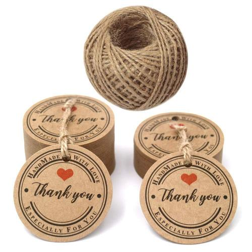 (Thank you with heart) - Thank You Tags,100 PCS Brown Gift Tags,4.3 cm Kraft Tags with Handmade with Love & Especially for You ,Round Kraft Gift Tags with 30 Metres Jute Twine Colour Name: Thank you with heart Material: The tags are made of 300 GSM paper card. Tag Diameter: 4.3 cm. Jute twine: 30 metres / 100 feet. The thank you gift tags come with pre-punched holes ready to use, save your precious time. Great as message tags, thank you notes, bookmarks, gift tags, clothing tags, price tags, mason jar tags, Christmas gift tags, baby shower birthday favour tags, festival gift card, or other place name cards. If there's any problem about our tags,you can contact us directly by E-mail,we'll solve it for you ASAP.