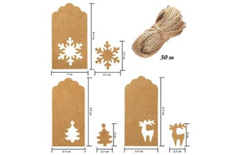 (Brown) - Aneco 150 Pieces Paper Tags Kraft Christmas Tags Hang Labels Christmas Tree Snowflake Reindeer Design for Christmas Gift Favour,DIY Arts and Crafts Wedding Supply with 30 Metres Twine (Brown)