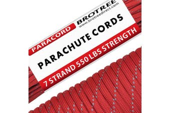 (Reflective Red, 50 Metre) - Brotree 550 Paracord 7 Strand Nylon Parachute Cord Outdoor Survival Rope - 250kg Breaking Strength (Standard, Reflective)