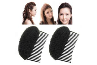 (Black) - 2 PCS Black Women Lady Girls Hair Stylish Hair Comb Fluffy Hair Pads Styling Clip Charming Insert Updo Beehive Hair Style Princess Hairpin Hair Accessories