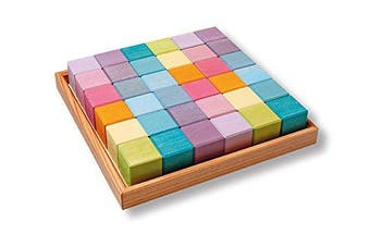 Grimm's Pastel Mosaic Square of 36 Wooden Cubes in Storage Tray, 4x4 cm Size Building Blocks