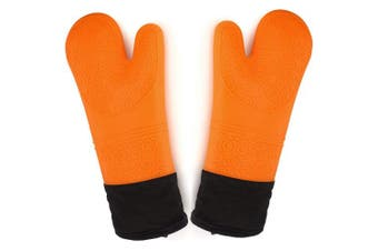 (Orange) - Sopito Oven Gloves, Heat Resistant Silicone Oven Gloves Extra Long Non-slip Oven Mitts for Grilling, Cooking, Baking, Kitchen, Microwave, Pizza (Orange,1 Pair)
