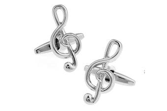 Ashton and Finch Silver Treble Clef Musical Note Cufflinks in a Free Luxury Presentation Box. Novelty Music Theme Jewellery