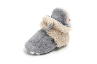 (12-18 Months, A-gray Beige) - Sabe Infant Boys Girls Warm Fleece Ankle Booties Soft Sole Unisex Strap Slippers First Pram Non-Skid Winter Baby Shoes Christmas First Birthday Gift Beige