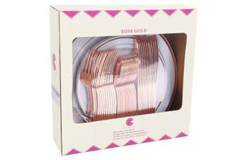 (Rose Gold) - 60pcs Rose Gold Plastic Plates, Rose Gold Plastic Silverware, Gold Plates for Parties, Disposable Wedding Plates in Heavy Weight,Enjoylife(Rose Gold) (rose gold)