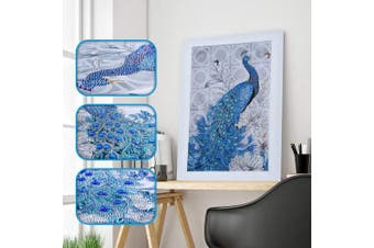 (Peacock 1) - Amersin DIY 5D Special Shaped Diamond Painting by Number Kits, Full Drill Rhinestone Embroidery Cross Stitch Pictures for Christmas Home Decor (Peacock 1)