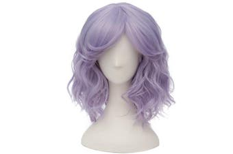 (Silver Purple) - Alacos Fashion 35cm Short Curly Bob Anime Cosplay Wig Daily Party Christmas Halloween Synthetic Heat Resistant Wig for Women +Free Wig Cap (Silver Purple)