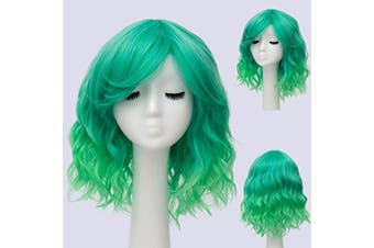 (Green Ombre 2) - Alacos Candy Wigs, Fashion 35cm Short Curly Bob Anime Cosplay Wig Daily Party Christmas Halloween Synthetic Heat Resistant Wig for Women +Free Wig Cap (Green Ombre 2)