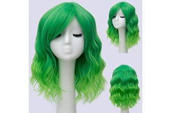 (Bright Green Ombre 2) - Alacos Candy Wigs, Fashion 35cm Short Curly Bob Anime Cosplay Wig Daily Party Christmas Halloween Synthetic Heat Resistant Wig for Women +Free Wig Cap (Bright Green Ombre 2)