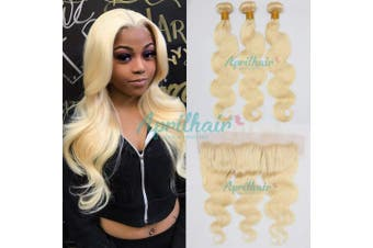 (14 with 14 16 18, Body Wave) - Aprilhair Pre-plucked #613 Platinum Blonde 3 Bundles With 13x4 Lace Frontal Ear To Ear Closure Unprocessed Brazilian Virgin Human Hair Weave Body Wave With Baby Hair(14+14 16 18)
