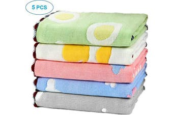 (Cute pattern) - 5PCS Premium Baby Muslin Face Towels, Ultra-Soft Bath Towel for Baby's Delicate Skin, Great Density & Good Stitching, Washcloth, 25cm x 25cm Cute Pattern