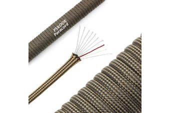 (Black Khaki Stripe) - PSKOOK 550 Paracord Lanyard Parachute Cord with Flaxed Tinder Cord PE Fishing Line Cotton Thread Outdoor Commercial Grade Braided Rope