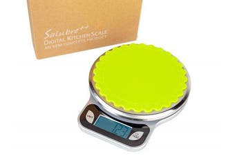 SALUBRE++ Digital Food Scale with Stainless Steel Weighing Platform. Precision Kitchen Scale weighs in Pounds, Ounces, or Grammes to 13 lb (5.89 kg) with 1/2 gm Increments. Batteries Included.