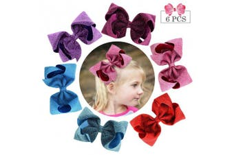 (20cm , 6PCS-Sequins Bows) - 20cm Glitter Hair Bows for Girls 6pcs Big Boutique Bow Alligator Clips Sequins Hair Accessories Toddlers Kids Teens
