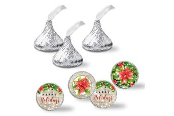 """Winter Snow With Red Poinsettias Holiday Party Kiss Sticker Labels, 240 Party Circle Sticker sized 0.75"""" for Chocolate Drop Kisses by AmandaCreation, Great for Party Favours, Envelope Seals & Goodie Bags"""
