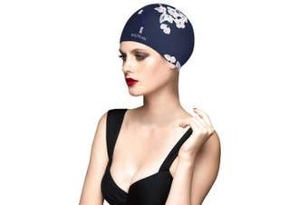 (Flower Dark Blue) - Balneaire Silicone Long Hair Swim Cap for Women,Waterproof UV Blocked Hand Painted Swim Cap