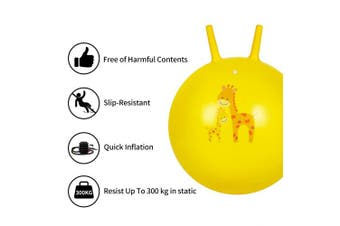 (Small, Yellow) - Trideer Hopper Ball Kids Exercise Ball Multi-Function, Jump Ball, Bouncy Ball with Handles, Kids Balance Ball and Ball Chair for Children Age 3-12, Air Pump Included