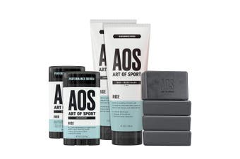 (Rise) - Art of Sport Athlete Collection, Rise Scent, 8pc Skin and Body Care Set with Deodorant, Hair + Body Wash, and Body Bar Soap