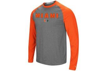 (Large, Miami Hurricanes) - Colosseum Men's NCAA-Buzzer Beater- Long Sleeve Raglan T-Shirt-Heathered