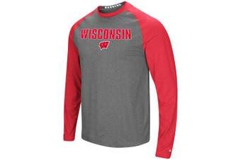 (XX-Large, Wisconsin Badgers) - Colosseum Men's NCAA-Buzzer Beater- Long Sleeve Raglan T-Shirt-Heathered