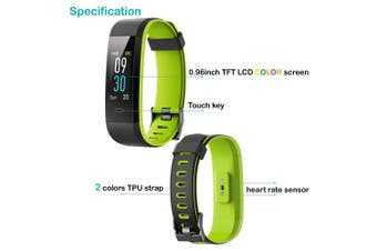 (Green) - YAMAY Fitness Trackers,Colour Screen Fitness Watch Waterproof IP68 Fitness Tracker with Heart Rate Monitor Smart Watches Pedometer Activity Tracker for Kids Women Men Call SMS SNS Notification Push