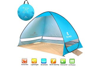 (blue) - NOTENS Pop-Up Beach Tent, Automatic UV Protection Beach Shelter Family Tent Sun Shade Outdoor Camping Tent Portable 2-4 Person For Beach BBQ Park Fishing Mountain or Toy House