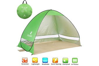 (Green) - NOTENS Pop-Up Beach Tent, Automatic UV Protection Beach Shelter Family Tent Sun Shade Outdoor Camping Tent Portable 2-4 Person For Beach BBQ Park Fishing Mountain or Toy House