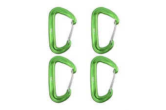 (Green) - Azarxis 12KN Aluminium Wire Gate Carabiners Clips Buckle D-Ring Locking Heavy Duty Lightweight 1200kg Rating for Hammock Climbing Camping Hiking Utility Durable Spring Link