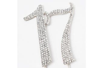 (17-silver) - Hatcher lee Bling Crystal Rhinestone 17 Birthday Cake Topper - Best Keepsake | 17th Party Decorations Silver