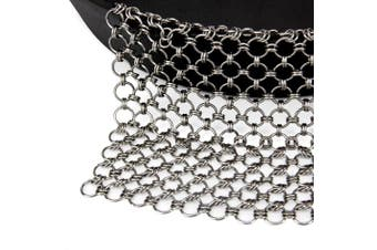 (20cm  X 15cm ) - Blisstime Cast Iron Cleaner Premium Stainless Steel Chainmail Scrubber (20cm X 15cm )