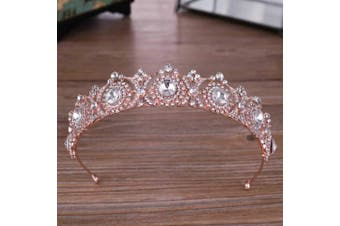 Simsly Wedding Crown and Tiara Rose Gold Flower Queen Rhinestones Crystal Headband for Women and Girls HG-25