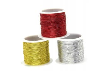 (Red) - 20M 1MM Gold Wire Rope,Non Stretch DIY Gift Wrap Ribbon Metallic Tinsel Cord Rope Tag Jewellery Making Rope,Non Stretch Metallic Cord Christmas Craft Making Cord(2 Roll)