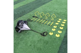 A11N Speed & Agility Training Set- Includes 1 Resistance Parachute, 1 Agility Ladder, 4 Steel Stakes, 4 Adjustable Hurdles, 12 Disc Cones, and a Drawstring Bag | Training Equipment for All Sports