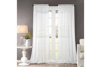 (2*(140cm  W x 180cm  L), Rod Pocket-white) - Dreaming Casa SALE Sheer Curtains Voile White Bedroom Curtain Classical Solid Curtains Ultra Sheer Curtains High Thread with Rod Pocket Kids Room 2 Panels 55''x 180cm Drop