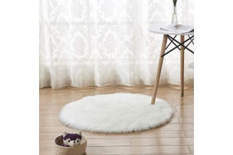 (White) - INMOZATA Faux Fur Sheepskin Rug Round Fluffy Rug Seat Pad Carpet Soft Area Rug for Living Room Bedroom Sofa Chair Floor 60X60 cm (White)